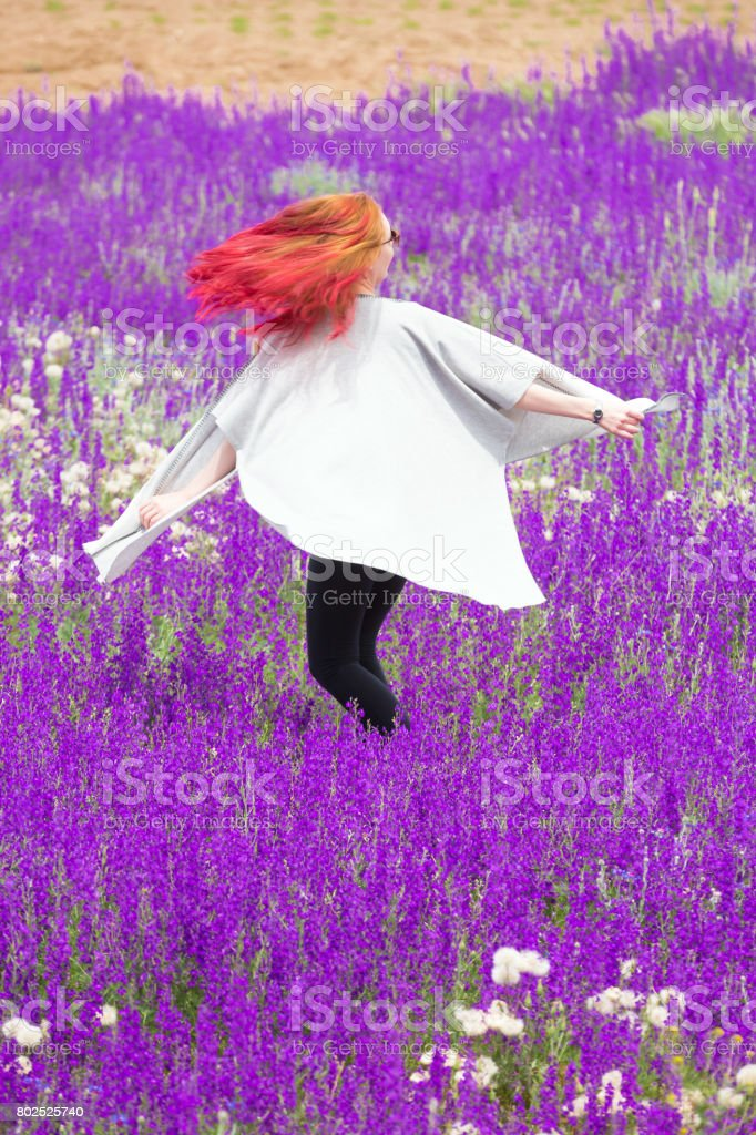 Freedom at lavender field stock photo