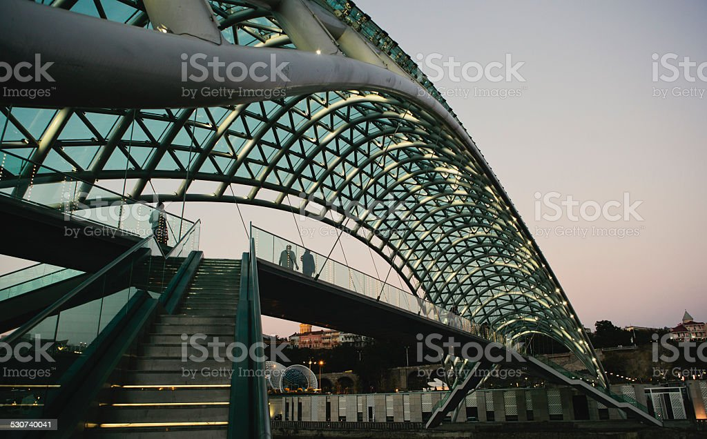 Freedom Bridge, Tbilisi stock photo