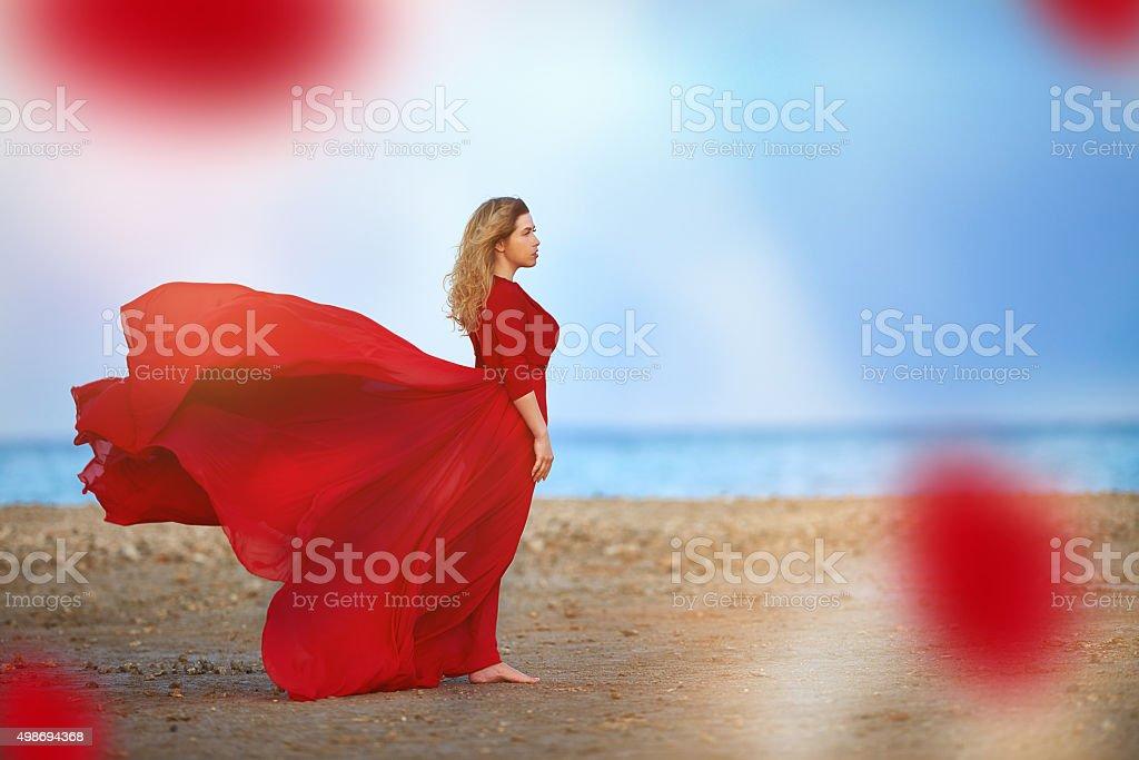 freedom feeling on the beach stock photo