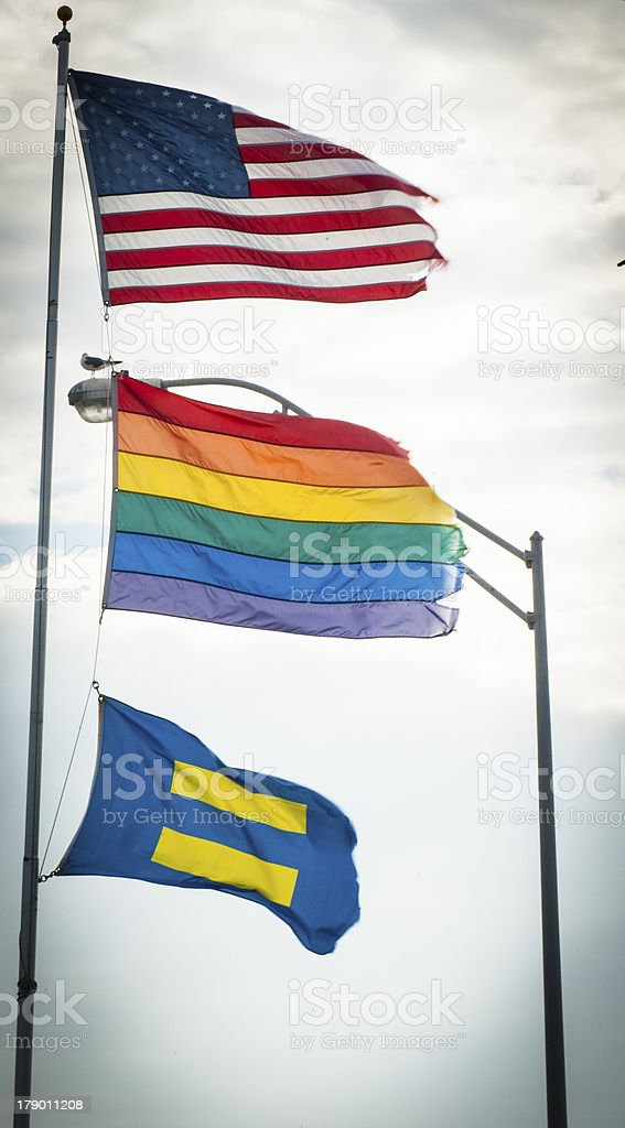 Freedom Flags - Gay Rainbow flag, American and Equal rights royalty-free stock photo