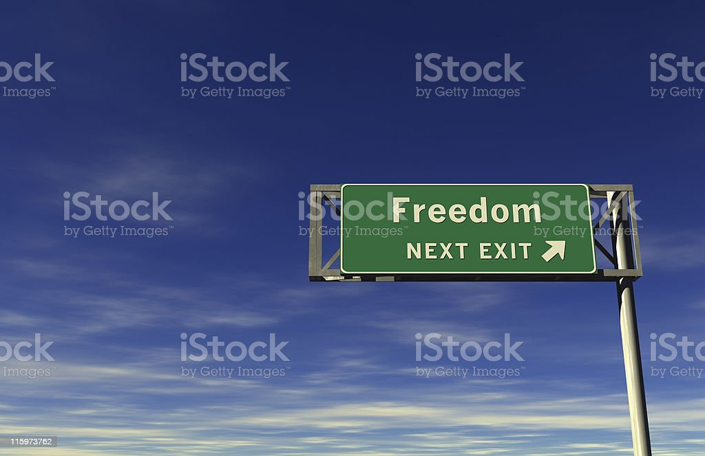 Freedom  - Freeway Exit Sign stock photo