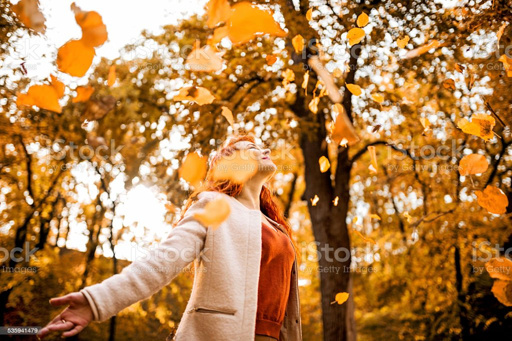 Freedom in autumn! stock photo