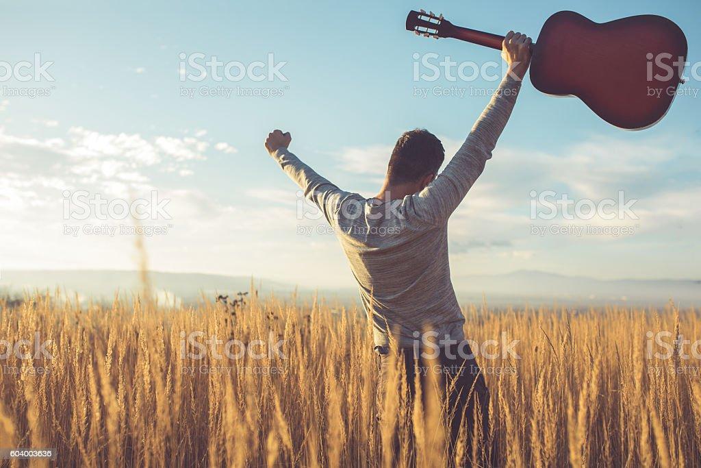 Freedom, nature, happiness stock photo