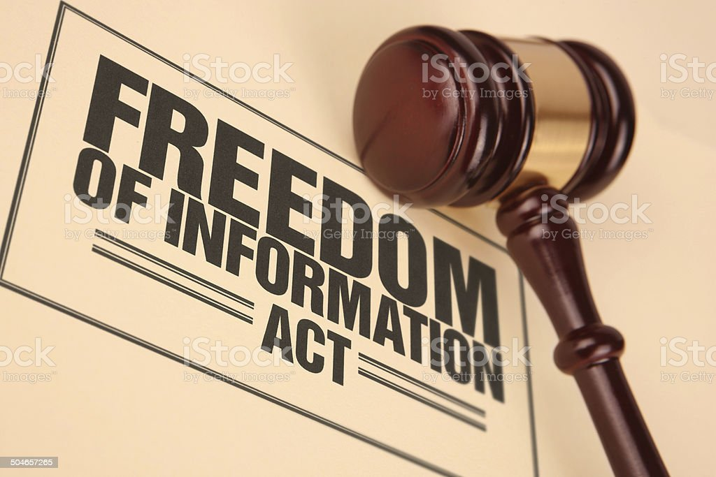 Freedom of Information Act Document Near Gavel stock photo
