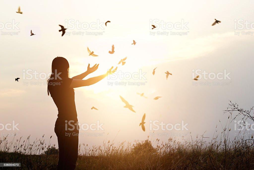 Freedom of life, free bird and woman enjoying nature stock photo
