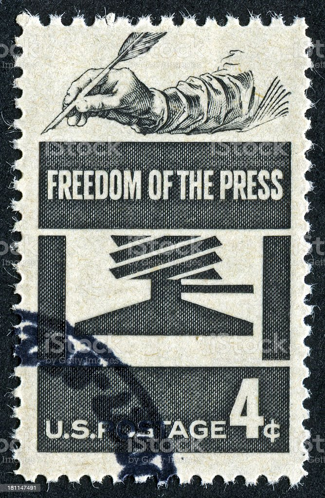 Freedom Of The Press Stamp royalty-free stock photo