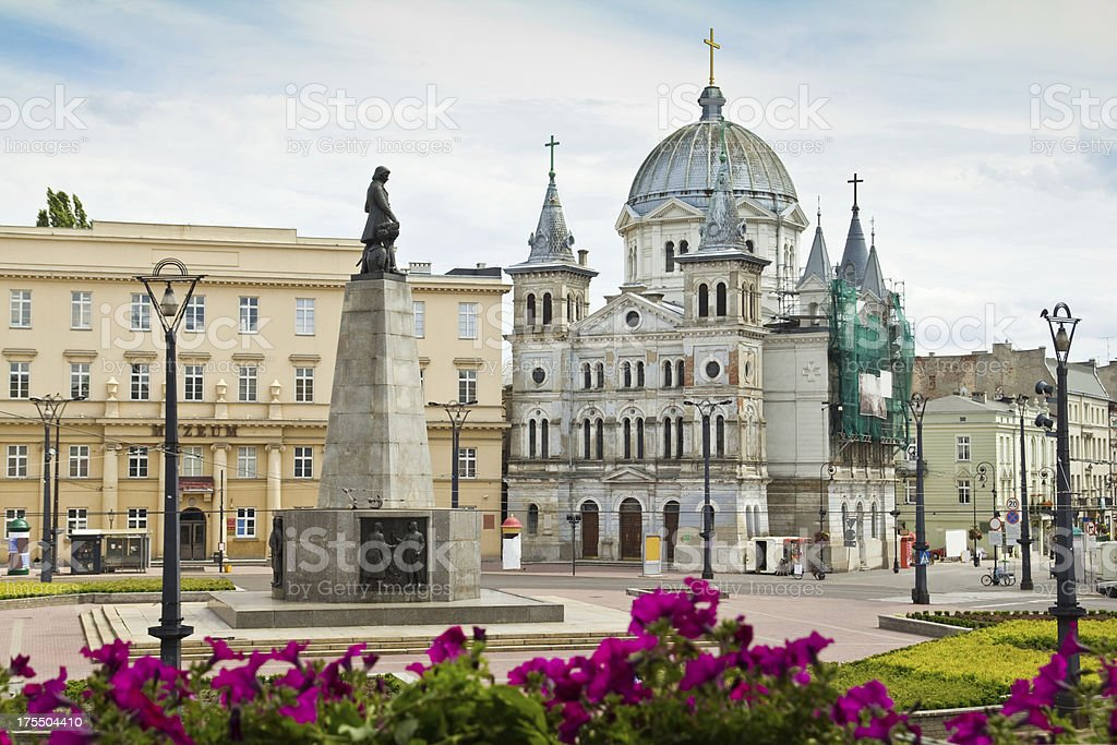 Freedom Square in city of Lodz, Poland stock photo