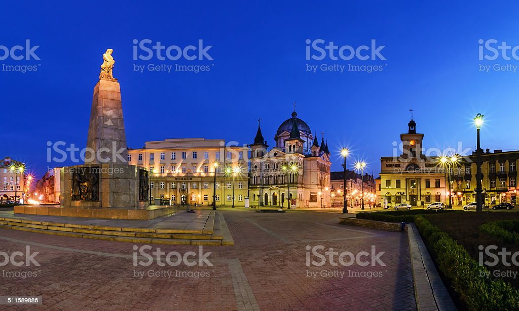 Freedom Square in Lodz in the evening. stock photo