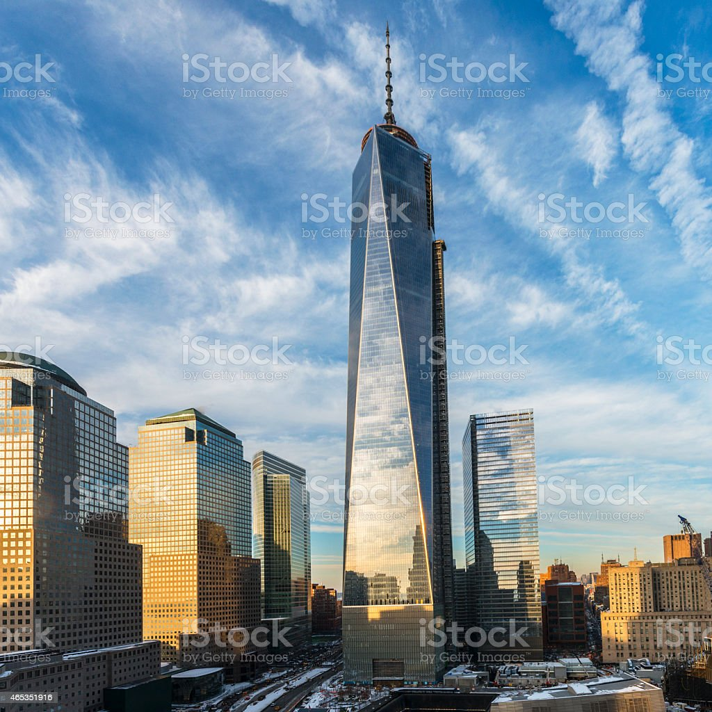 Freedom Tower and Financial District stock photo