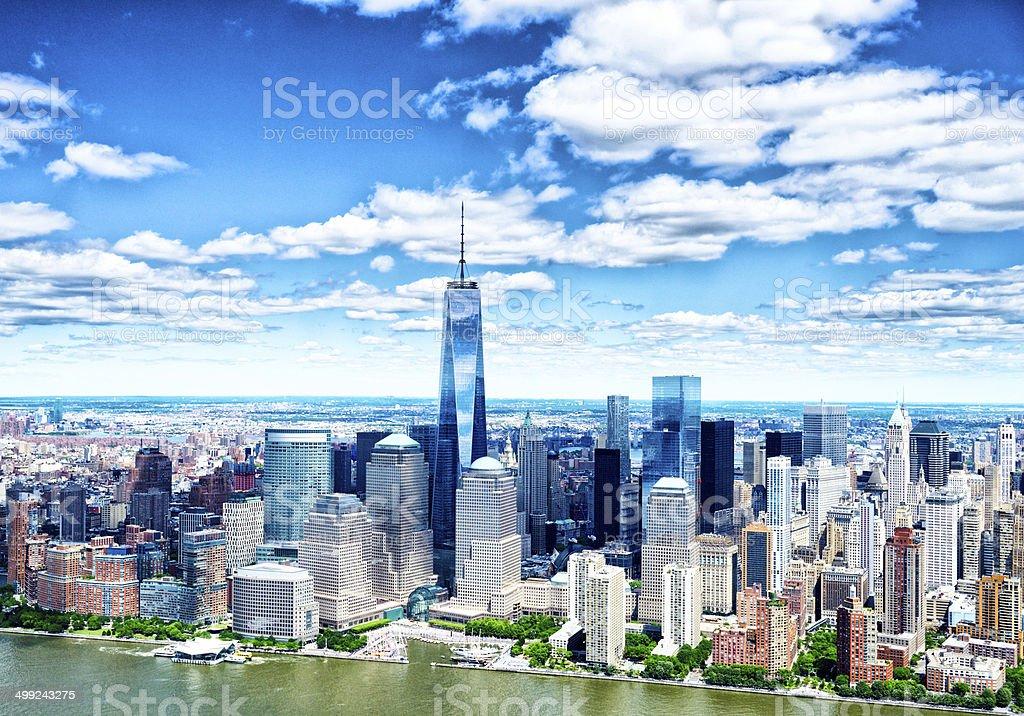 Freedom Tower. Downtown Manhattan Skyline. Aerial View. stock photo