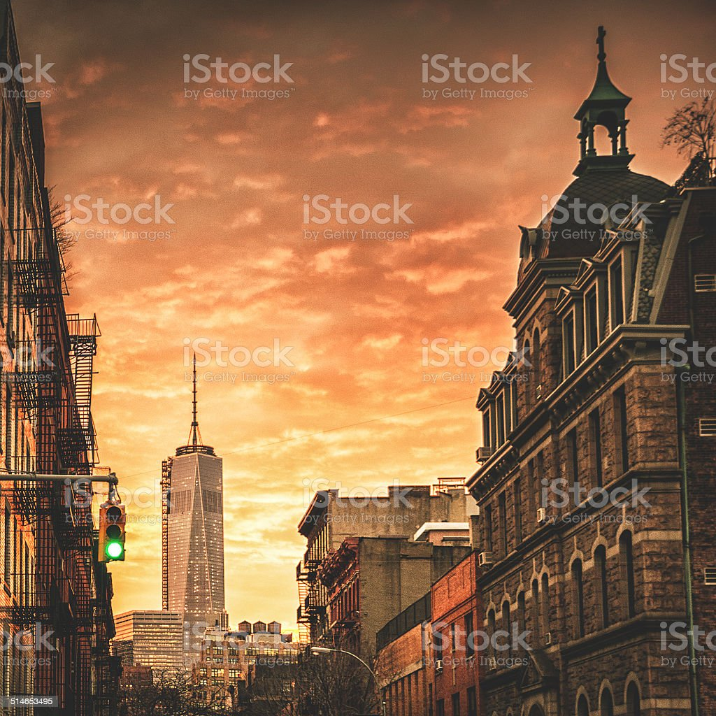 freedom tower in manhattan at dusk stock photo