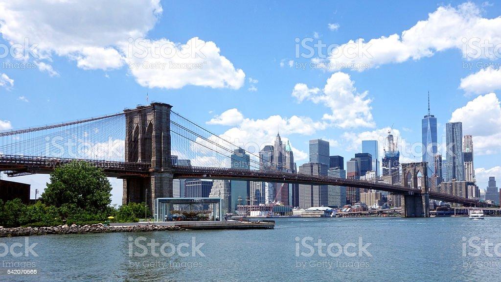 Freedom Tower & Lower Manhattan View behind Brooklyn Bridge stock photo