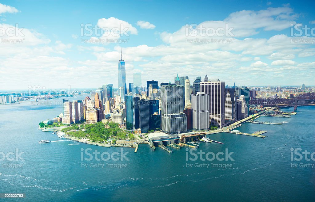 Freedom Tower, NYC. Aerial View. stock photo