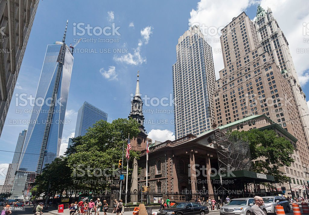 Freedom Tower Trinity Church New York City stock photo