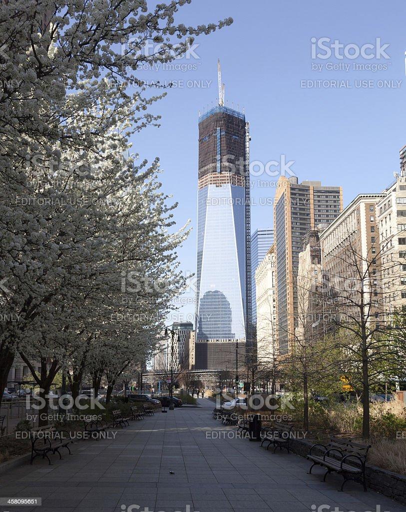 Freedom Tower under construction New York stock photo