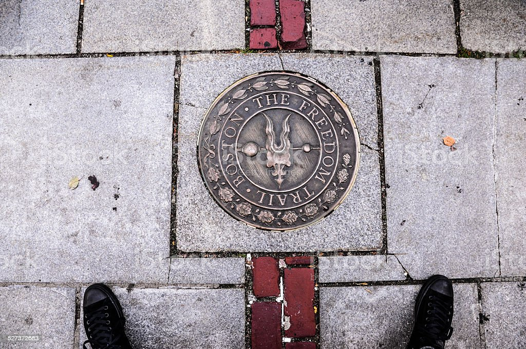 Freedom trail mark in Boston Massachusettes stock photo