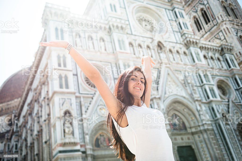 Freedom Woman in florence with arm raised stock photo