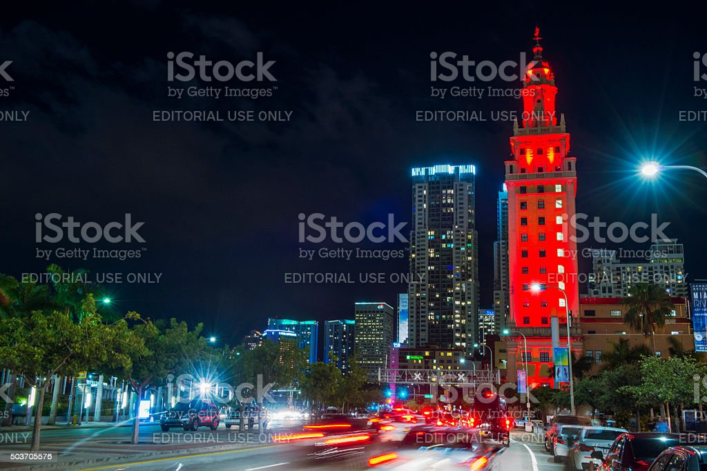 Freedome Tower Downtown Miami City Buildings Illuminated at Dusk stock photo