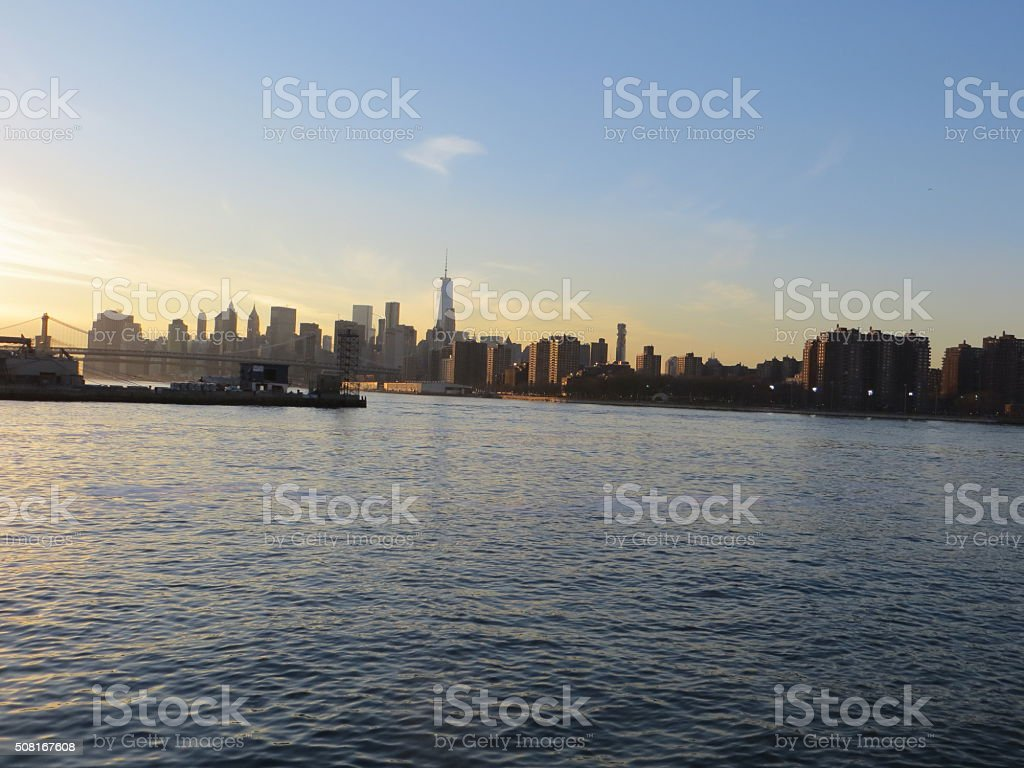 Freedom-Tower and Bridges seen from Brooklyn side of East river stock photo