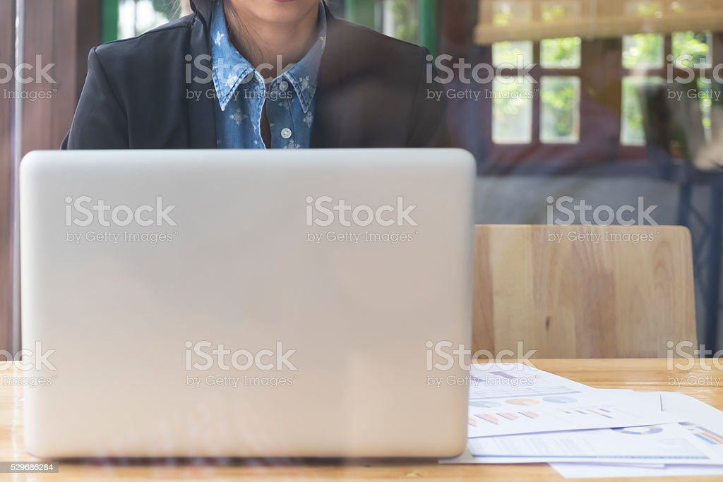 Freelance or businesswoman working with computer laptop. stock photo