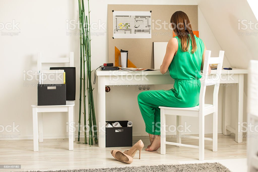 Freelance work at home office stock photo