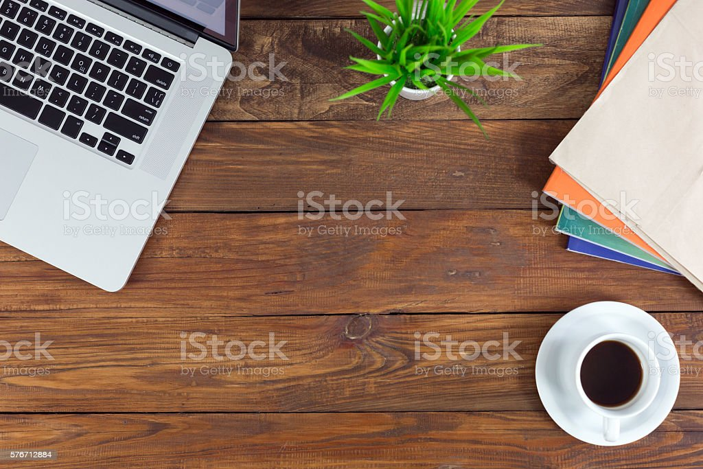 Freelance working environment view of wooden Desk with Business Items stock photo