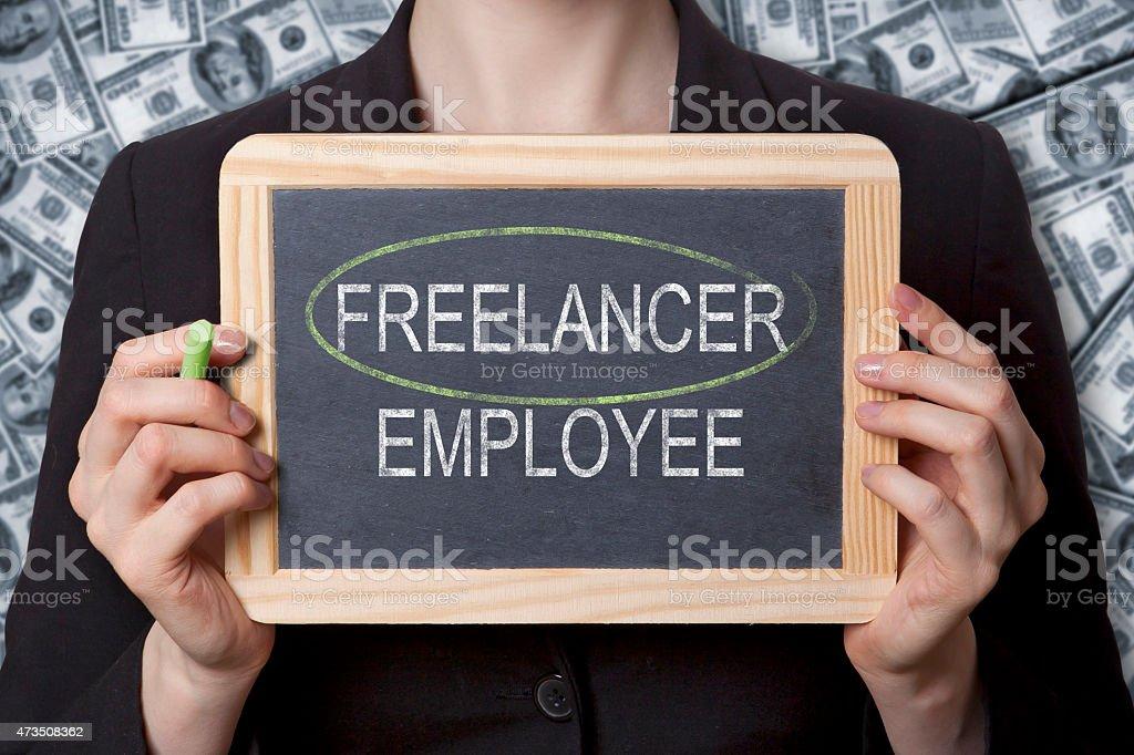 Freelancer black board stock photo