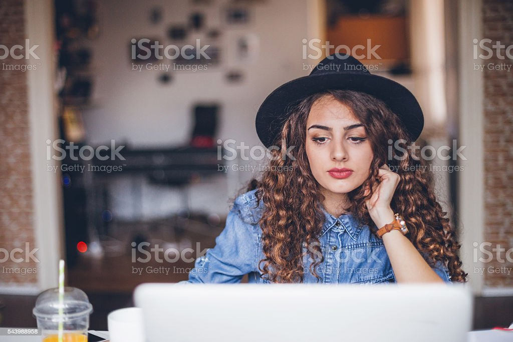 Freelancer during the work in home office stock photo