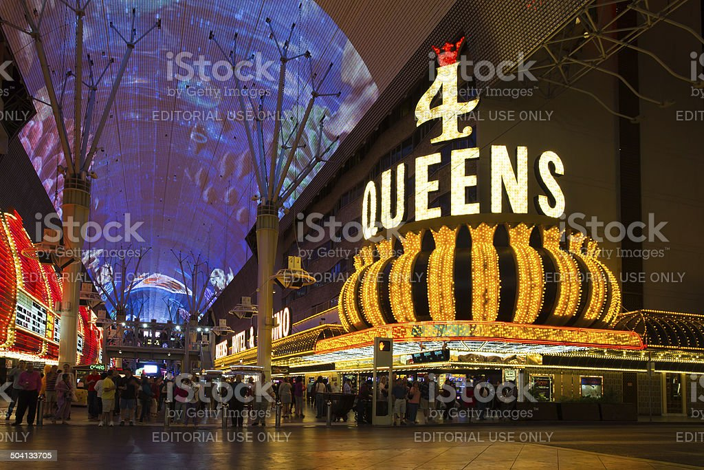 Freemont Street and 4 Queens Casino stock photo