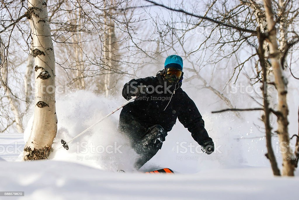 Freeride in Siberia stock photo