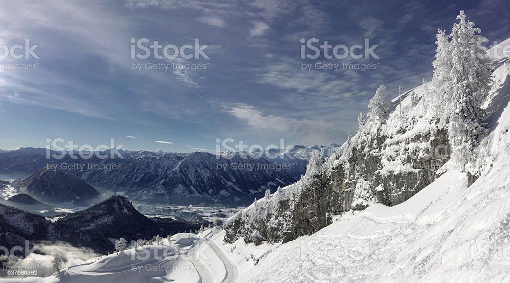 Freeride Slopes, Glacier Dachstein, Austrian Alps Panorama stock photo