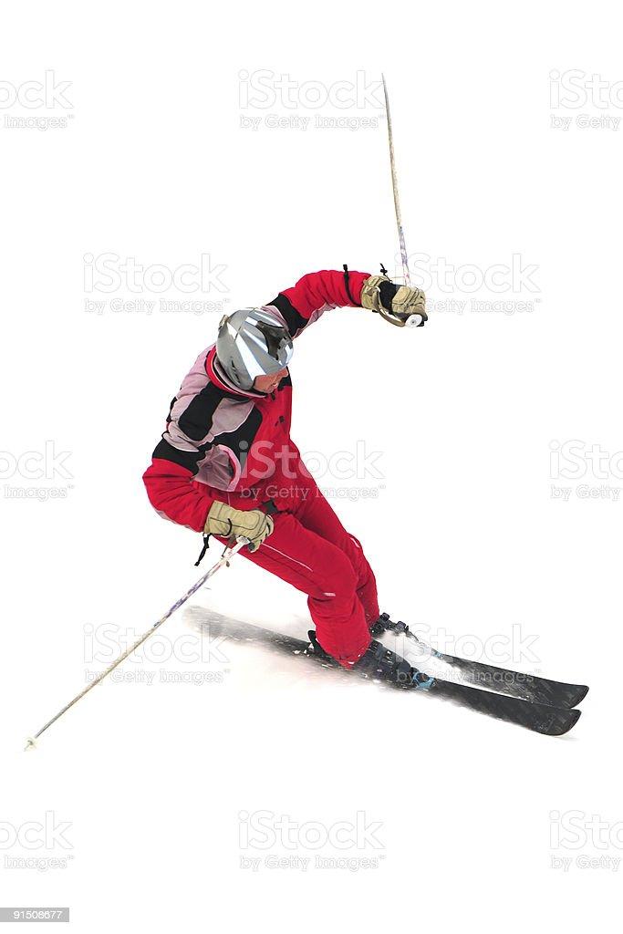 Free-rider skiing on the mountain royalty-free stock photo