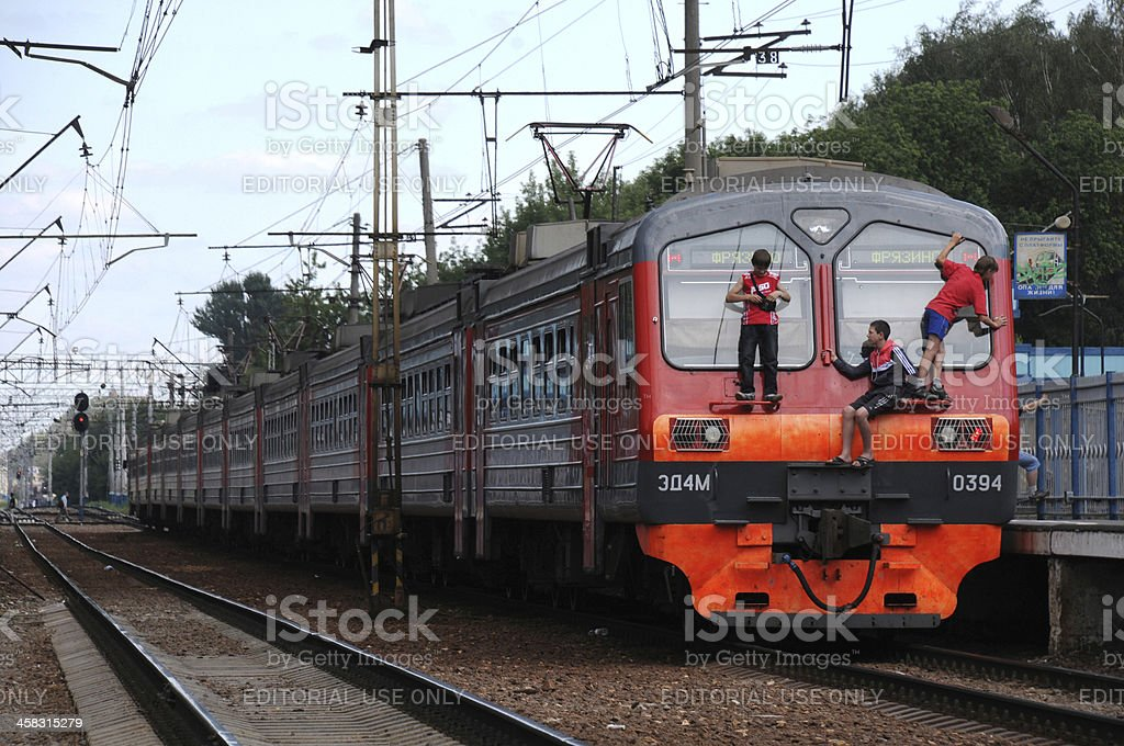 Free-riders on the Commuter Train stock photo