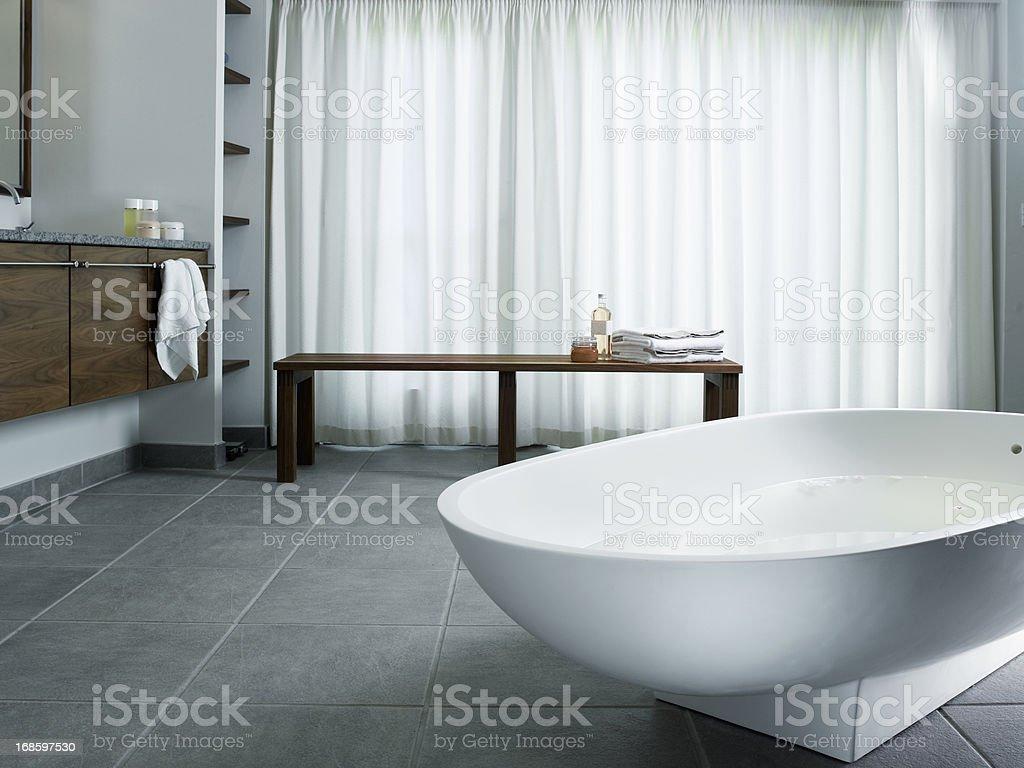 Freestanding bathtub stock photo