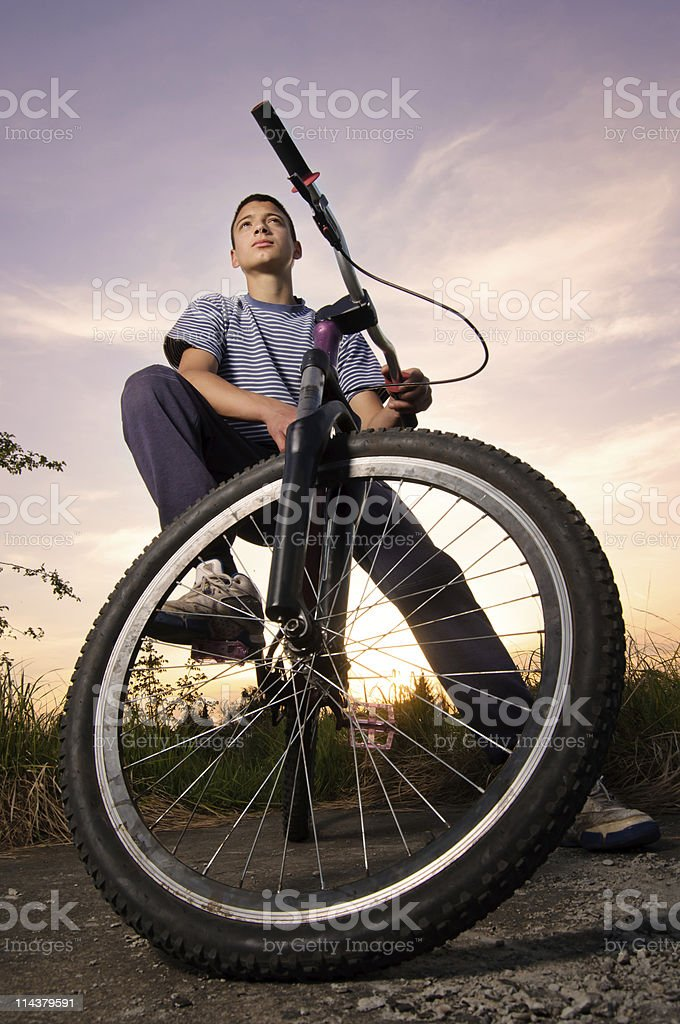 Freestyle biker stock photo