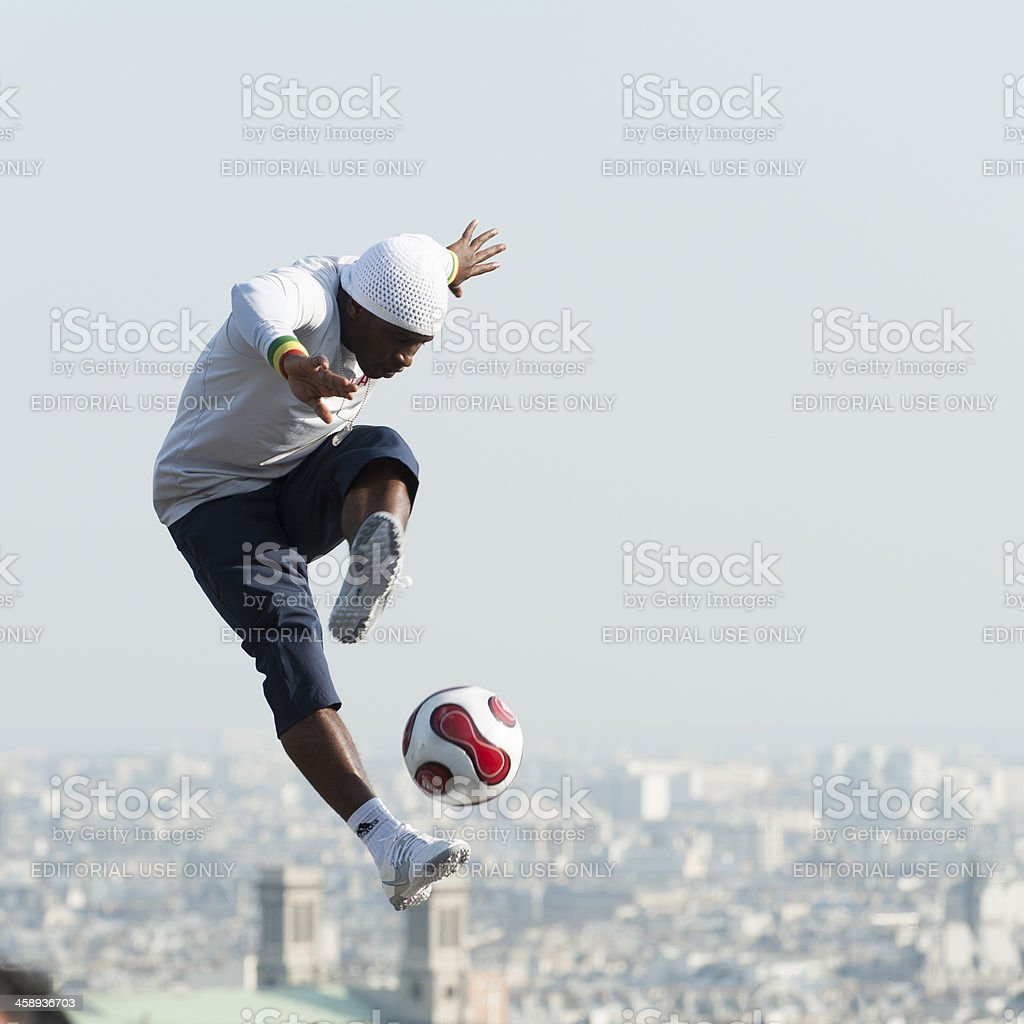 Freestyle Footballer at Montmartre stock photo