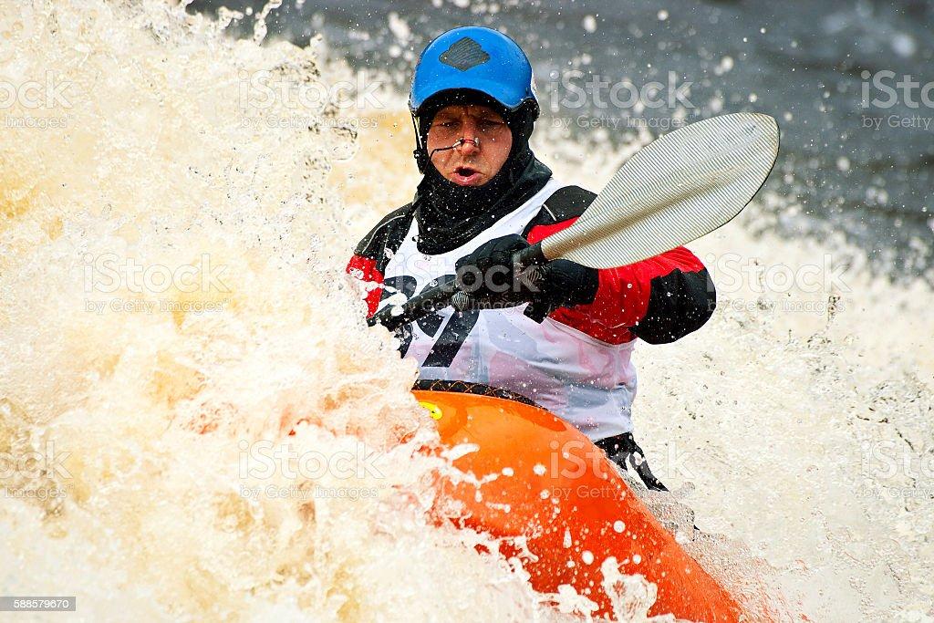 Freestyle kayak on whitewater stock photo