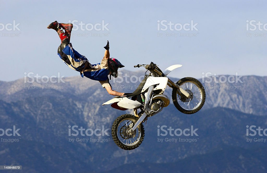 Freestyle Motocross Seat Grab royalty-free stock photo