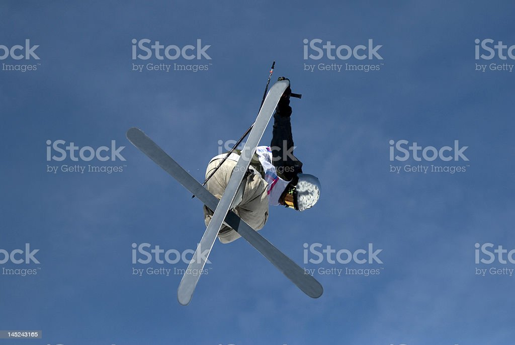 Freestyle skier in les Arcs. France stock photo