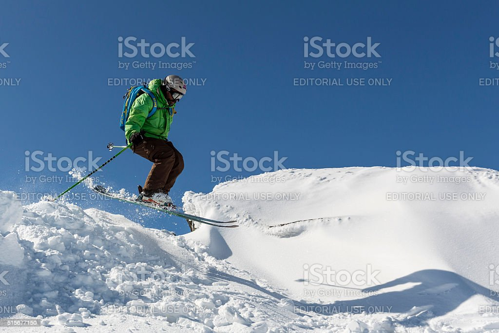 Freestyle skiing jumping stock photo