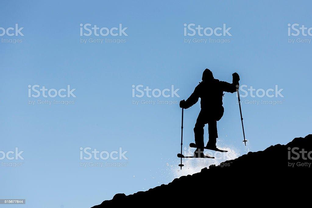 Freestyle skiing silhouette stock photo