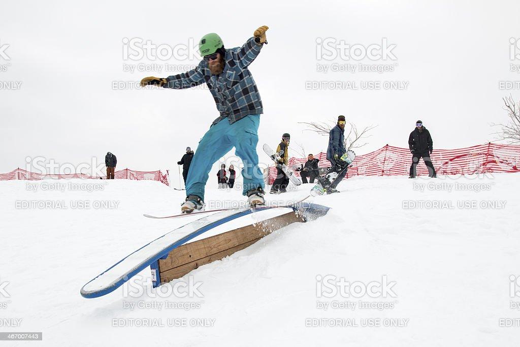 Freestyle snowboarding in Denver Colorado stock photo