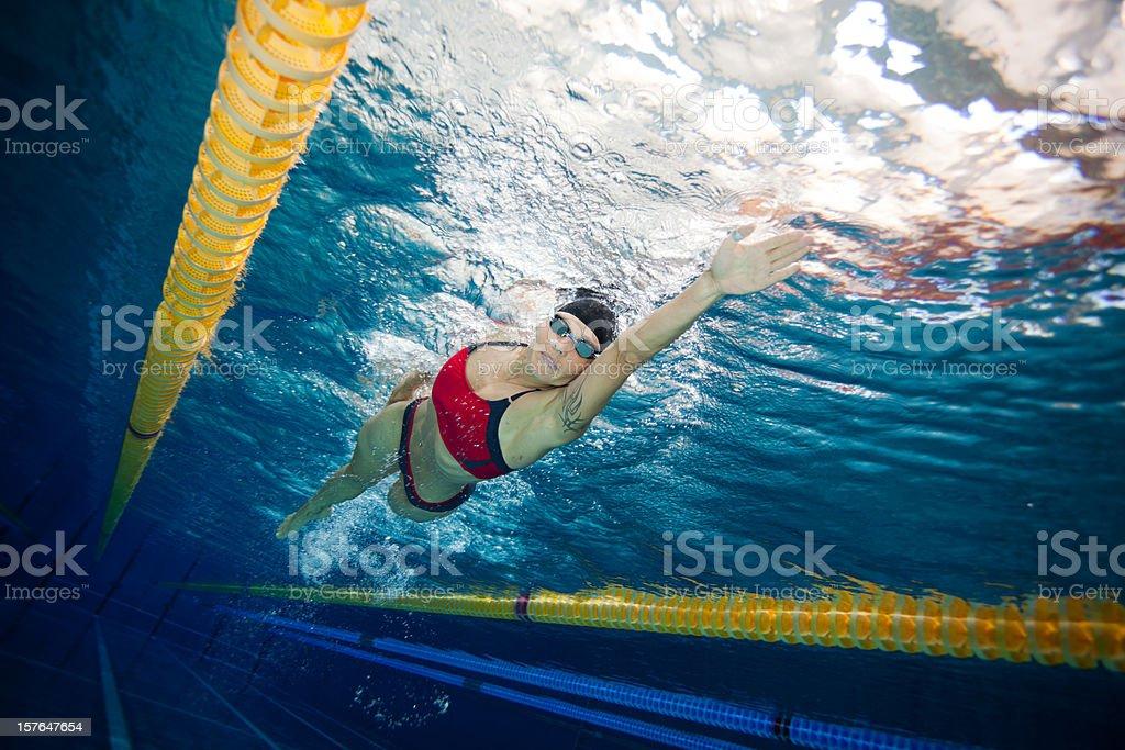 freestyle swimmer underwater view stock photo