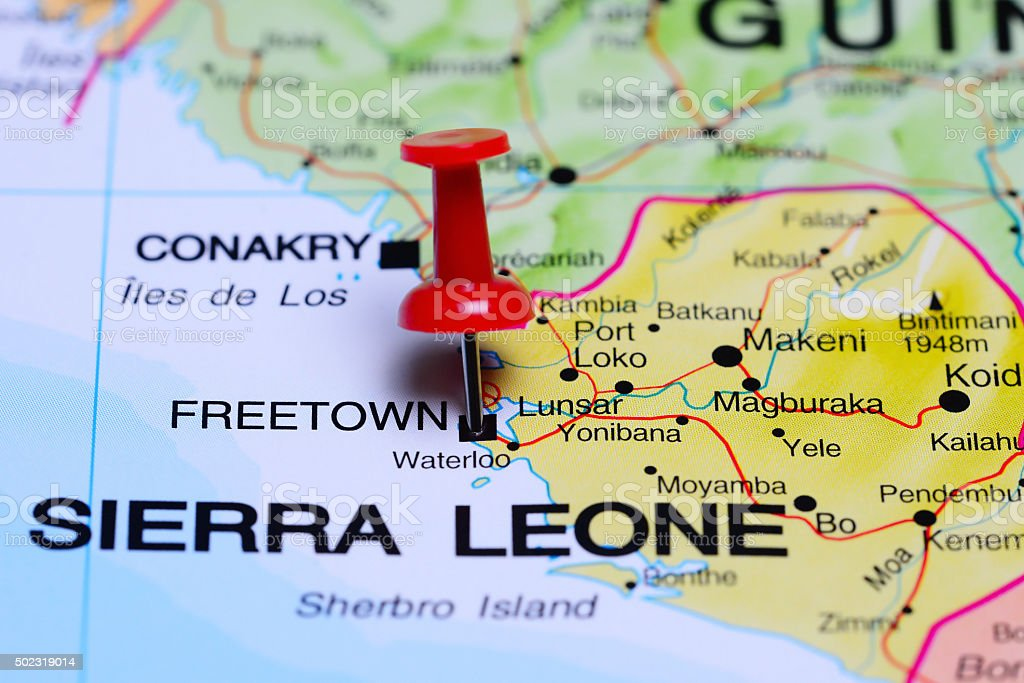 Freetown pinned on a map of Africa stock photo