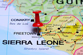 Freetown pinned on a map of Africa