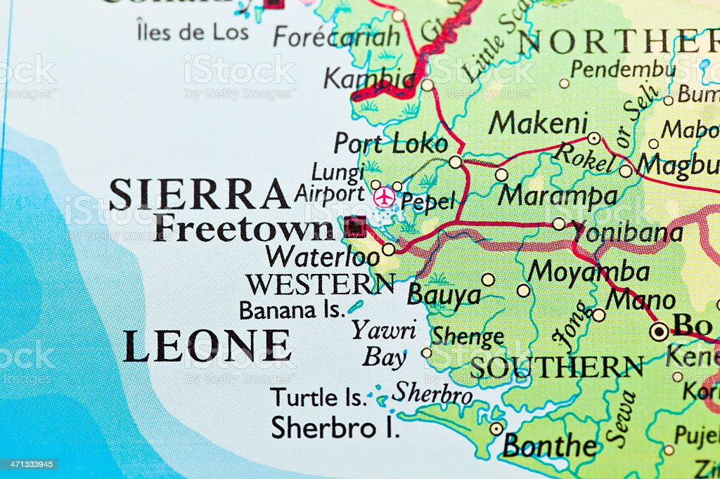 Freetown, Sierra Leone map stock photo