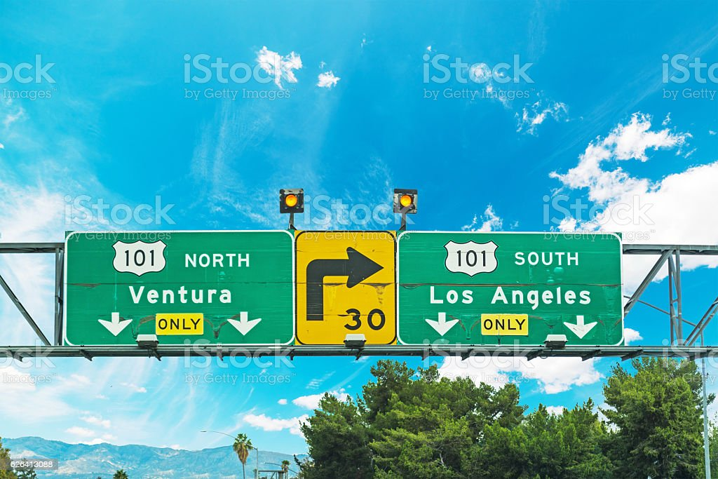 Freeway 101 crossroad sign in Los Angeles stock photo