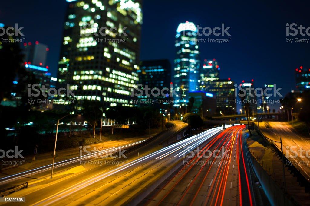 Freeway at Night royalty-free stock photo