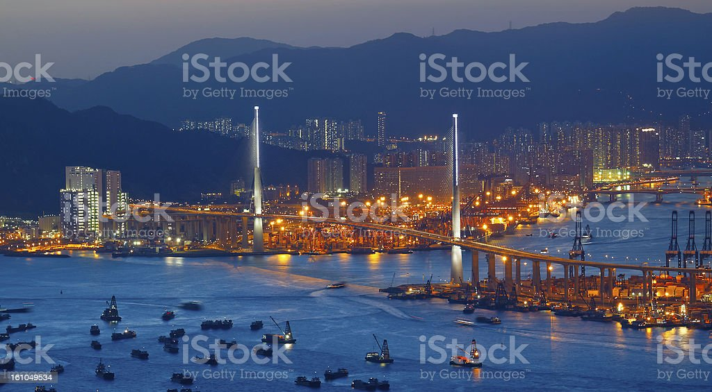 Freeway at night with cars light in modern city royalty-free stock photo