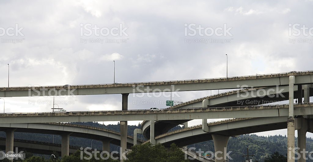 Freeway Bridges, Portland Oregon stock photo